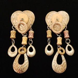 Vintage Unique Boho Heart Dangle Earrings